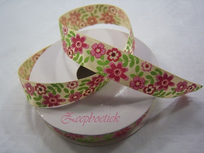 Decoratielint. rose/groen/wit  per meter