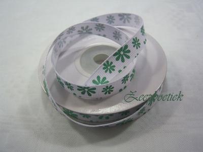 Decoratielint. groen/wit  per meter