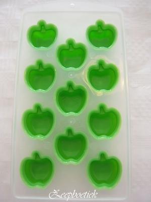 Deze rubberen zeepmal Appel, is verstevigd met hard plastic